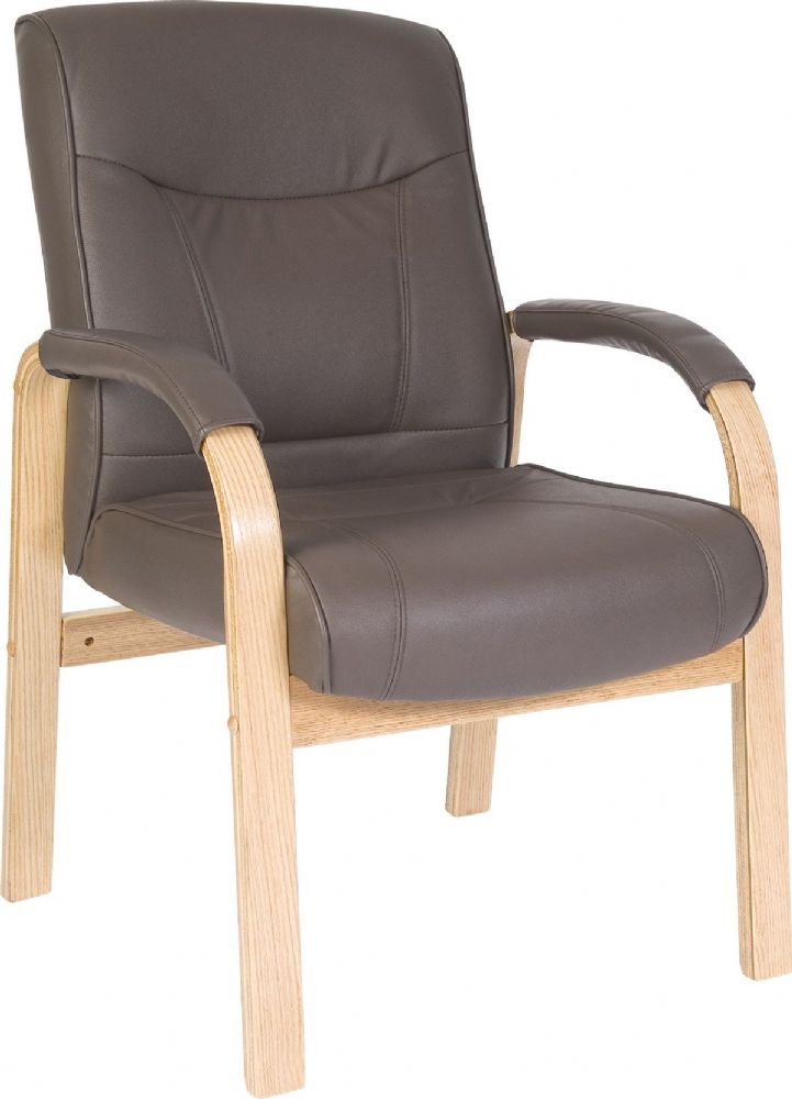 TEKNIK RICHMOND VISITOR Brown Leather 4 Legged Visitor Chair